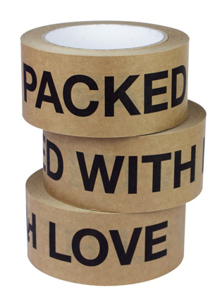Ever heard of Fancy.com? It's similar to Pinterest, but on Fancy you don't create pinboards with images; instead you make your own catalogue of products you love. On this social network I found this 'Packed with Love' sticky paper tape.