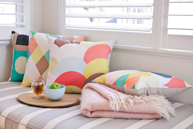 Cushions in pretty colours by The DAN300 group