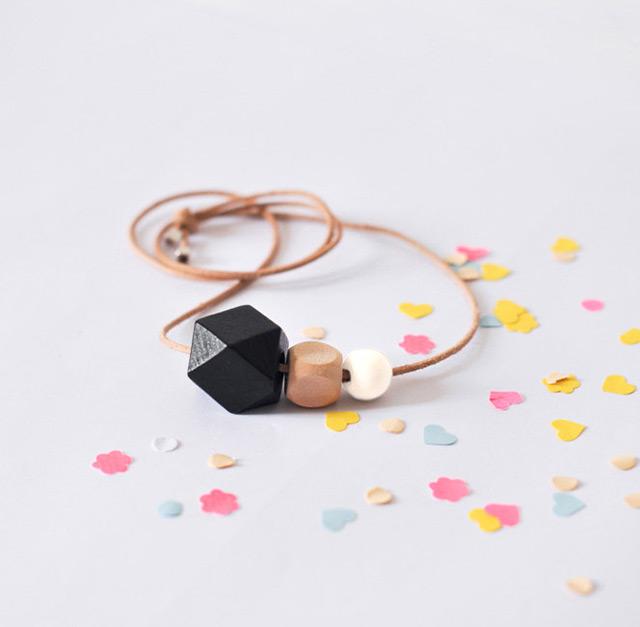 Geometric wooden bead necklace by Oelwein