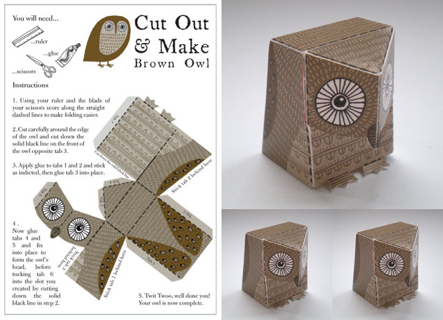 Cute out & make Brown Owl (3D)