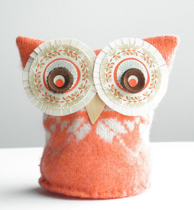 Handmade owl plushie Nell (orange)