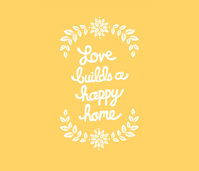 Art print 'Love builds a happy home' by Wondercloud Design