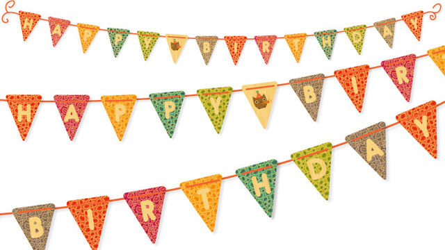 Colorful birthday banner by Night Owl Paper Goods