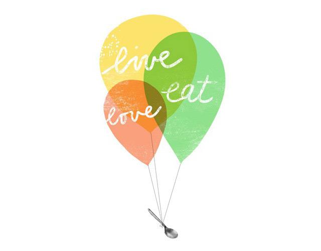 Print balloons Live, love, eat