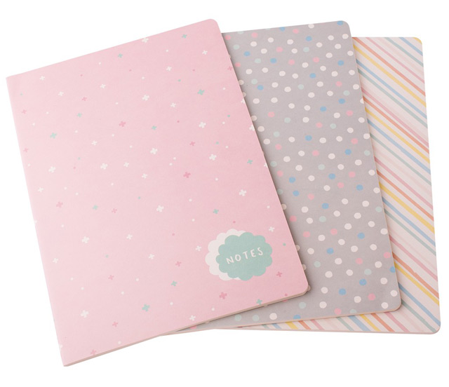 A4 notebooks with stars, dots and stripes