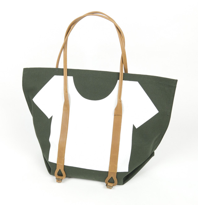 Suspenders tote in green with white graphics