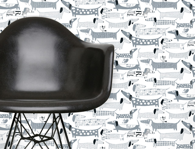 Wallpaper with dog design! How cool is this for a boys room?