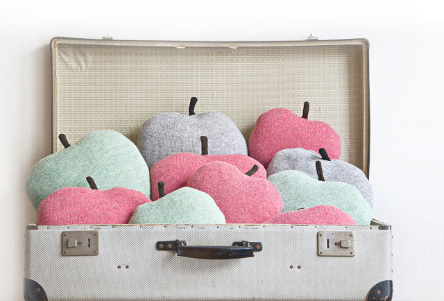 Apple shaped cushion (in green, grey and pink)