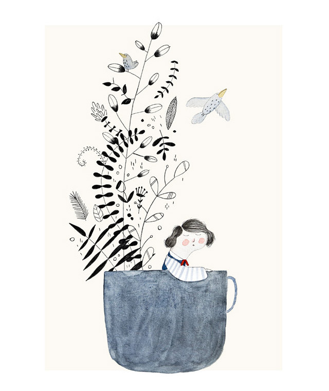Print 'The girl and the teacup' by Studio Meez