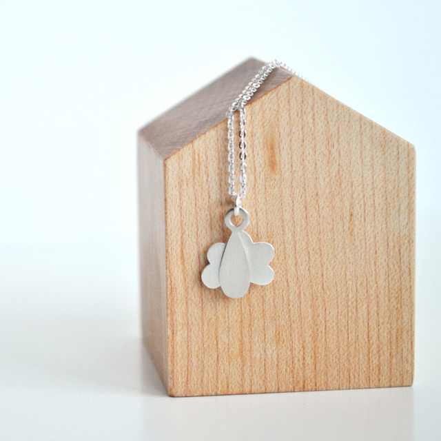 Raindrop & cloud necklace - TheAngryWeather