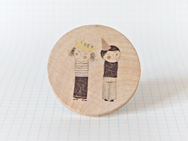 Illustrated wooden brooch 'Twins' by Studio Meez