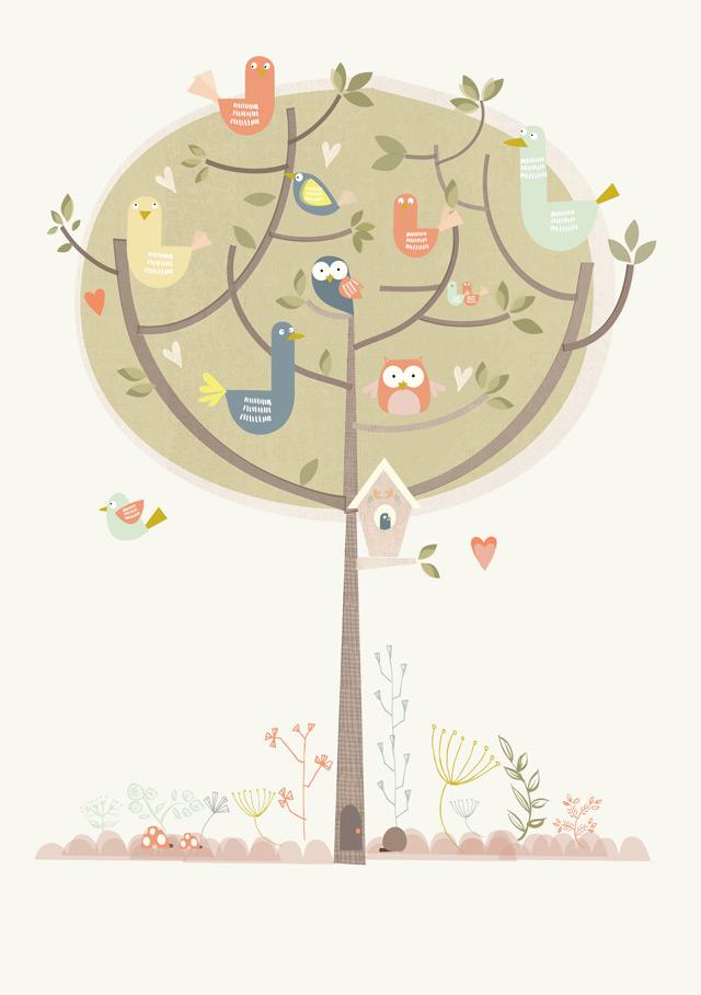 Print 9: Birds in trees
