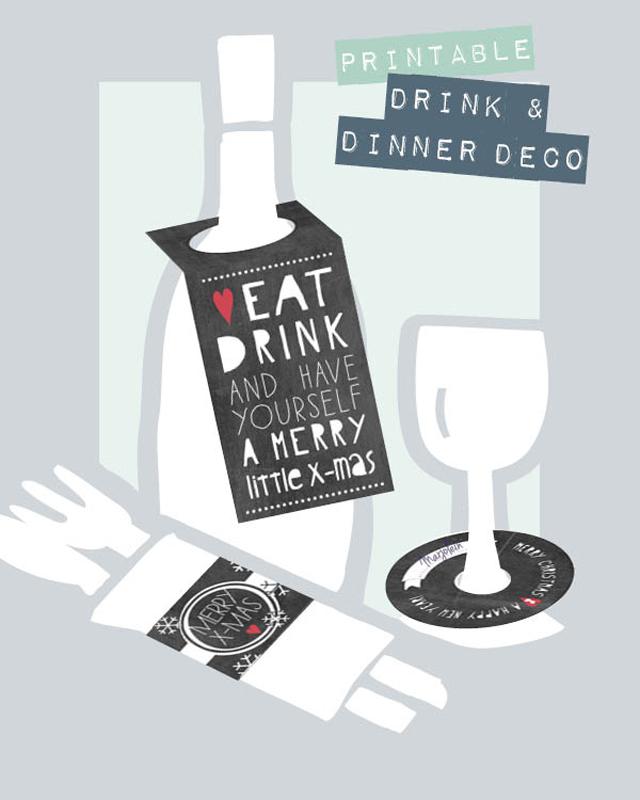 Printable drink & dinner deco