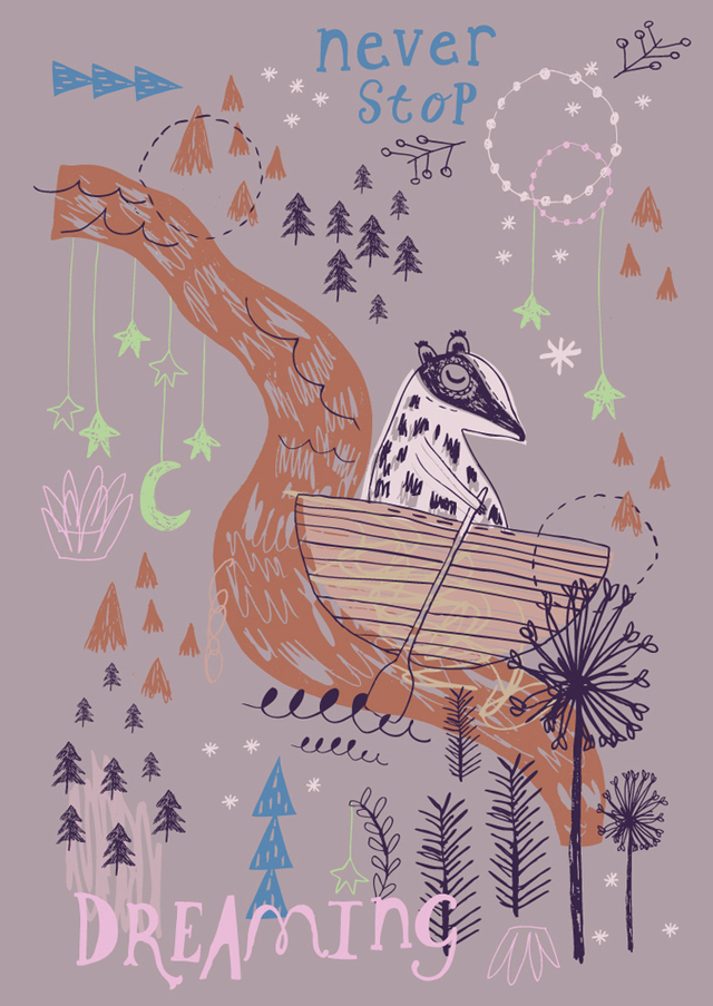 Poster Never stop dreaming by Rosie Harbottle