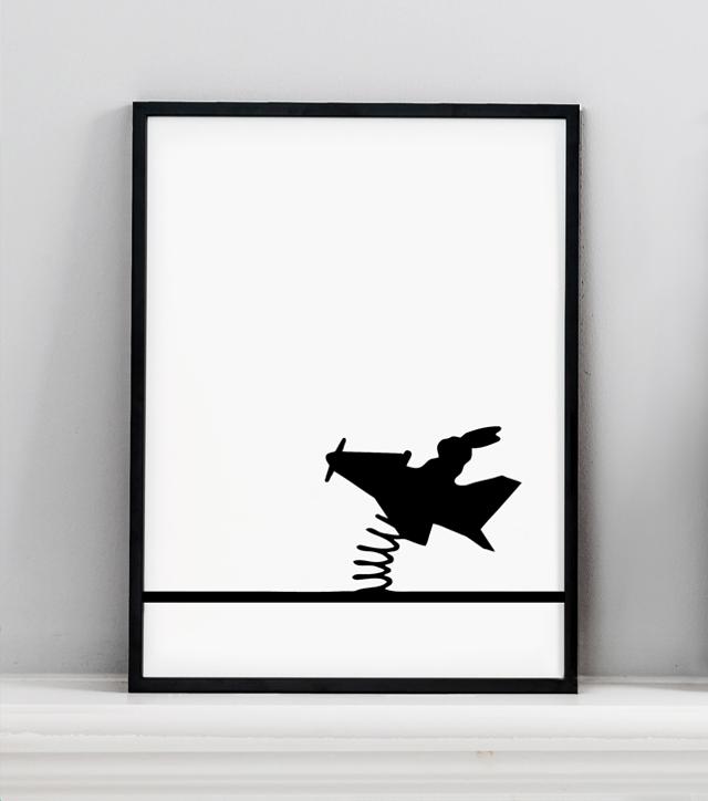 HAM prints- flying rabbit