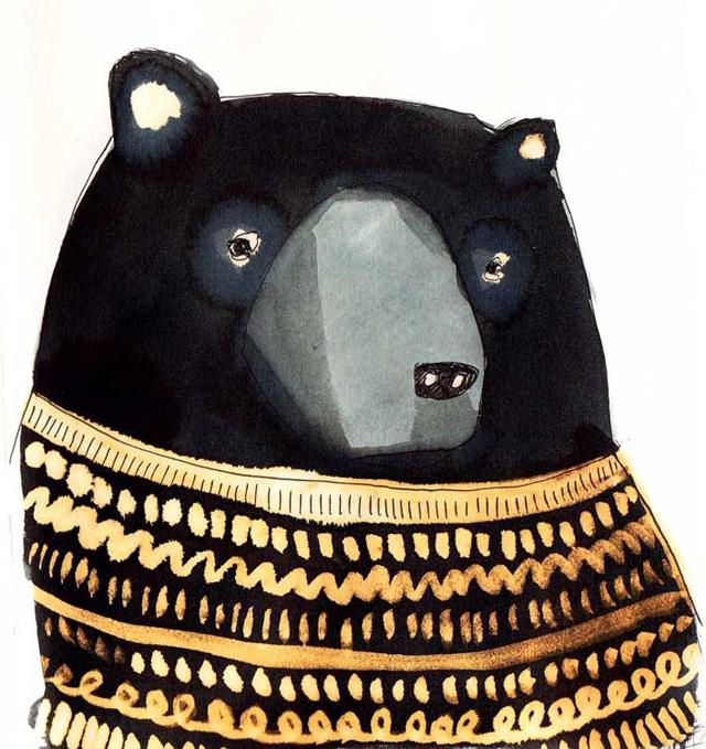 Illustration black bear made by Emilya Fox