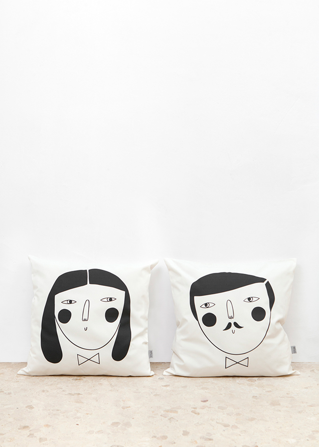 Woman and man cushion cover by Depeapa
