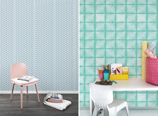 Wallpaper Triangles grey & Candy green