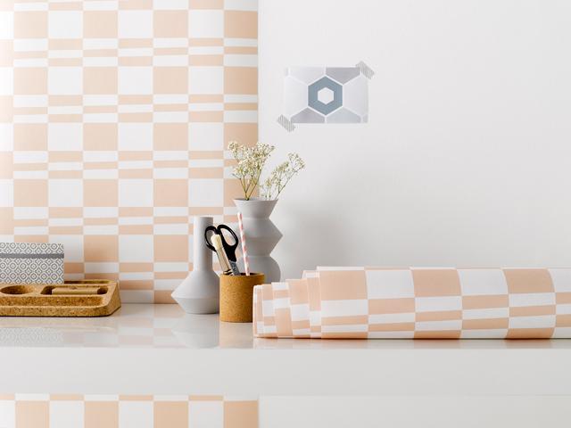 Roomblush wallpaper square stripe pink