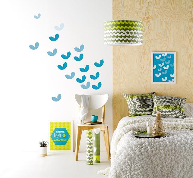 Roomblush wallsticker, cushion, lamp & poster