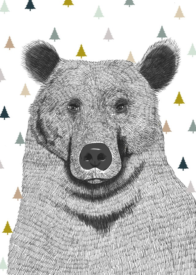 Print Bear with Trees