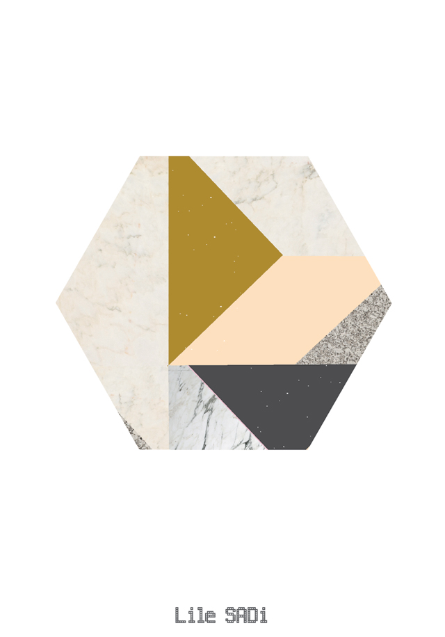 Poster Marble Hexagon